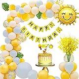 MMTX Decoración de Cumpleaños para Niña, con Pancarta de Feliz Cumpleaños, Orchidee Artificiali, Hojas de Palma, Pastel de Bricolaje, Globo en Forma de Sol y Globos de Látex para niñas Mujeres
