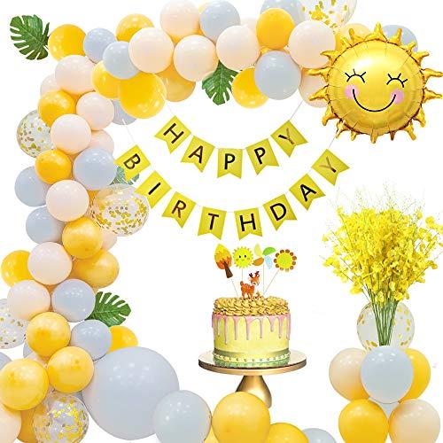 MMTX Geburtstagsdeko Mädchen, Geburtstag Dekoration Set mit Happy Birthday Girlande Künstliche Orchideen Kuchendeckel Palmblätter und Sonnenförmiger Ballon für Mädchen und Frauen Geburtstag Party