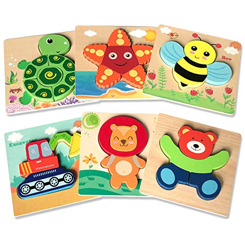 Wooden Puzzles for Toddlers, AwesomeCube Wooden Jigsaw Puzzles for Kids 1 2 3 Years Old Educational Toys for Boys and Girls