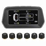 Sistema di monitoraggio della Pressione dei Pneumatici TPMS Sistema di Allarme per la Ricarica Solare Wireless con 6 sensori Display LCD per 4-6 Pneumatici Adatto per Auto Camion Camper Rimorchi