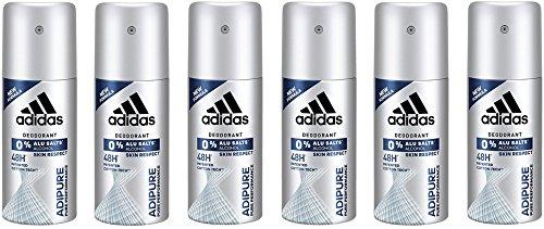 adidas adipure Deo Bodyspray für Herren, Deodorant ohne Aluminium & Alkohol für 48h effektiven Deo-Schutz, pH-hautfreundlich, 6 x 35 ml