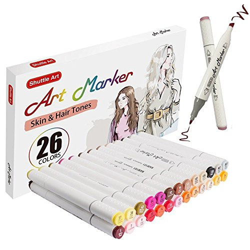 Shuttle Art 26 Colors Skin Tone & Hair Dual Tip Alcohol Based Art Markers, Permanent Marker Pens Double Ended with Fine Bullet and Chisel Point Tips Perfect for Face, Flesh, Manga, Portrait, Sketch