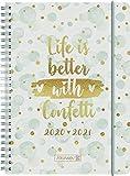 """BRUNNEN 1072150091 """"Confetti"""", Wochenkalender/Schülerkalender 2020/2021, 2 Seiten = 1 Woche , Blattgröße 14,8 x 21 cm , A5 , PP-Einband"""