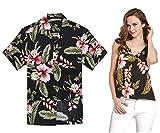 Par a Juego Hawaiian Luau Outfit Aloha Camiseta y Camiseta sin Mangas en Negro Rafelsia Hombre...