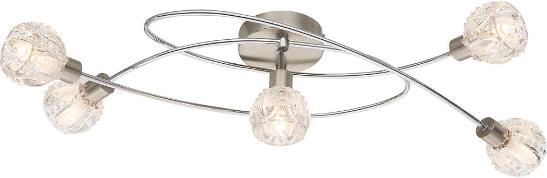 Hochwertige LED Deckenleuchte nickel matt, chrom Kristallglas klar, innen mit Folie 3W Globo 56180-5