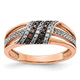 14k Rose Gold White and Champagne Diamond Ring, Size 14