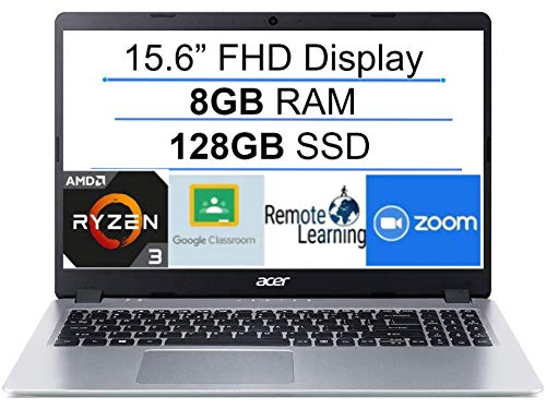 2020 Newest Acer Aspire 5 15.6' FHD 1080P Laptop Computer| AMD Ryzen 3 3200U up to 3.5 GHz(Beat i5-7200u)| 8GB RAM| 128GB SSD| Backlit Keyboard| WiFi| Bluetooth| HDMI| Windows 10| Laser USB Cable