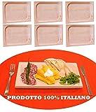 6 pz di Piatto vassoio scifetta per polenta alimenti in legno di faggio