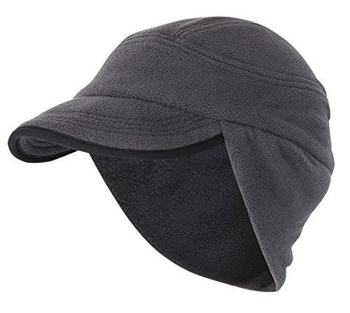 Home Prefer Mens Winter Hat Knit Fleece Skull Cap Outdoor Windproof Earflap Hat with Visor Dark Gray