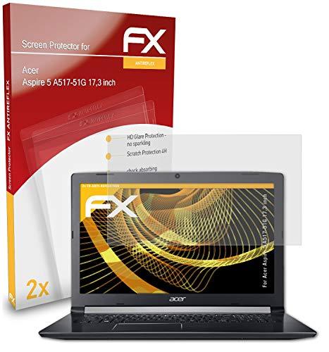 atFolix Panzerfolie kompatibel mit Acer Aspire 5 A517-51G 17,3 inch Schutzfolie, entspiegelnde & stoßdämpfende FX Folie (2X)