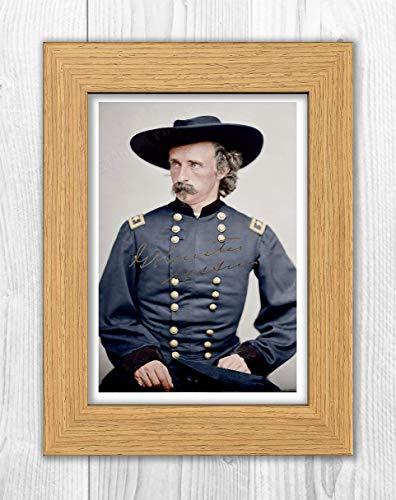 Engravia Digital General George Armstrong Custer circa 1885 - Póster de reproducción (marco de roble)