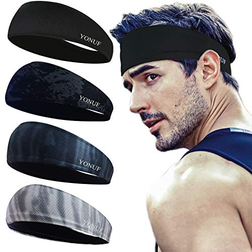 YONUF Workout Headbands for Men Sports Stretchy Absorb Sweat Band Elastic Running Sweatband 4 Pack