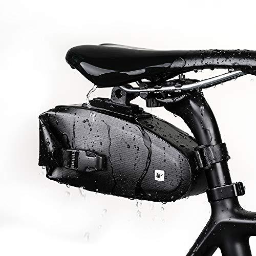 Asvert Fahrrad Satteltasche schwarz Wasserdicht Sport Satteltasche, leichte Fahrrad Rückentasche Aufbewahrungstasche für MTB Rennrad 1.2L Schwarz