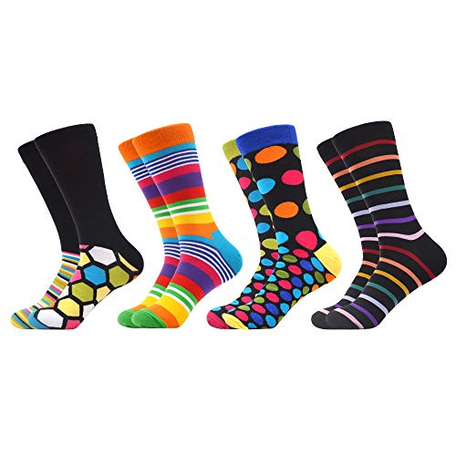 WeciBor Herren Bunt Beiläufig Gemusterte Socken Gekämmte Baumwolle Lustig Neuheit Crew Socken (4 Paar Geometrie B)