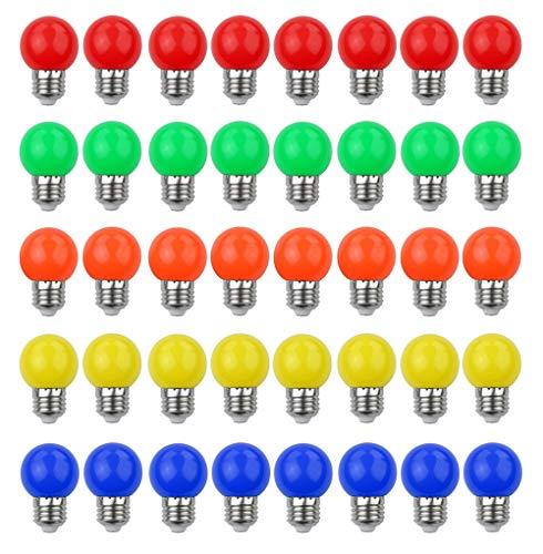 V-TOO Ampoule LED Couleur E27 3W équivalente 30W 240LM E27 Grosse culot à vis Ampoule Guirlande Couleur LED Ampoules Multicolore pour Maison Bar Fête Décoration d'ambiance - Lot de 40