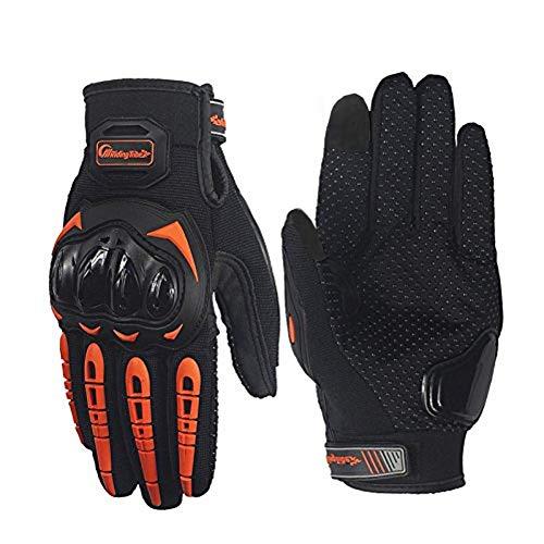ARTOP Motorradhandschuhe Touch Screen Anti-Rutsch Anti-Kollision Motorrad Handschuhe Sehr Guter Schutz für Herren(Orange,M)