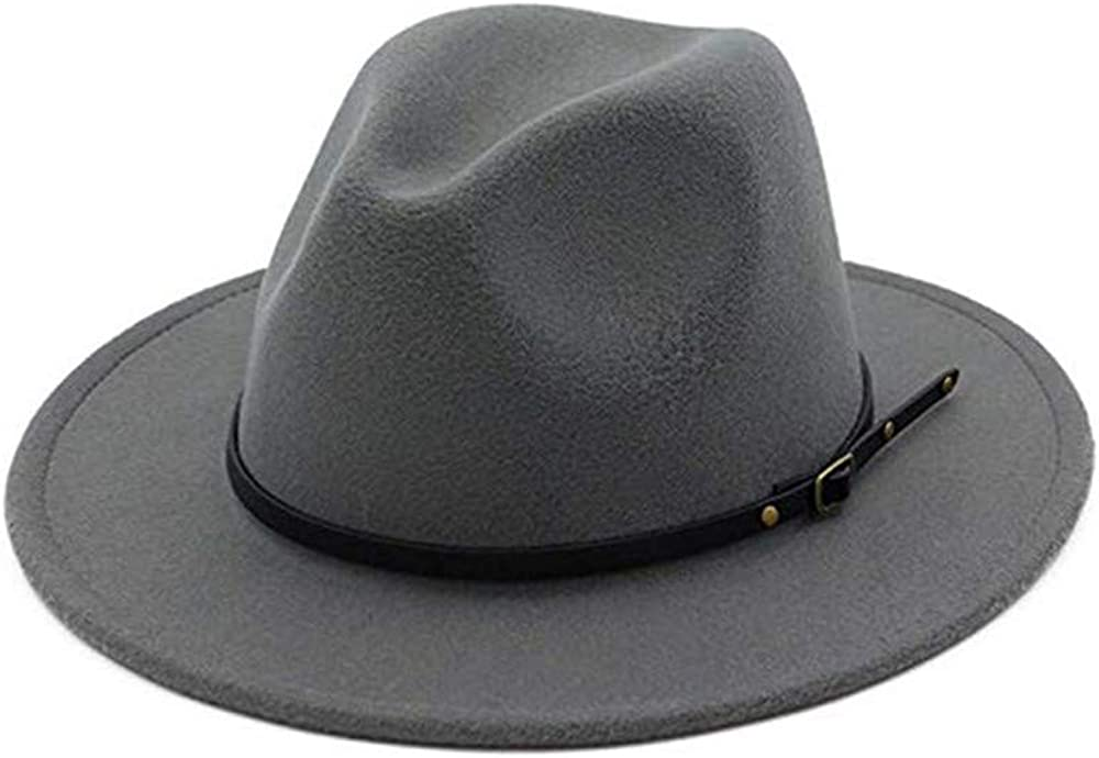 Bhwin Women Classic Wide Brim Fedora Hat Felt Panama Hat with Belt Buckle
