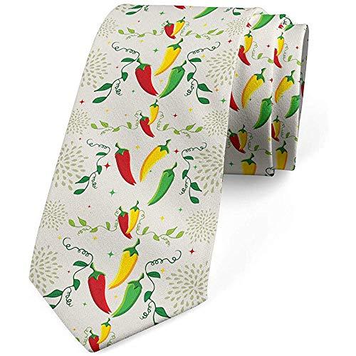 Cravatta da uomo, salsa piccante messicana per alimenti, cravatta, 8 cm, giallo verde felce