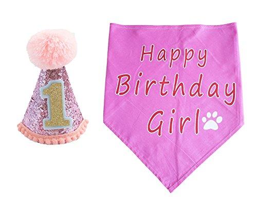 BIPY Dog 1st Birthday Hat for Girls Small Medium Large cani gatti costumi Headwear rosa