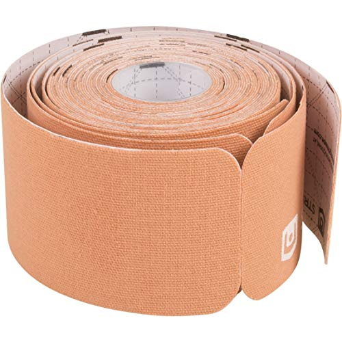 "StrengthTape Kinesiology Tape - 16.4' (5m) Roll of 10"" Precut Strips - Beige"