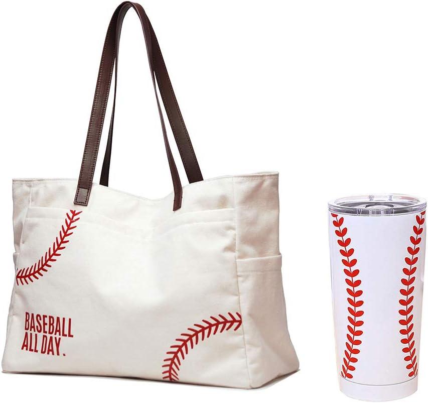 JIU HONG CHAO Baseball Tote Handbag & Tumbler Mugs Packages, White, X-Large