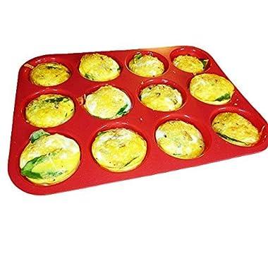 Keliwa 12 Cup Silicone Muffin - Cupcake Baking Pan/Non - Stick Silicone Mold/Dishwasher - Microwave Safe
