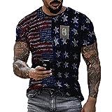 Camiseta de Cuello Redondo con Estampado de Bandera Estadounidense para Hombre Creatividad Camiseta de Manga Corta Informal con Estampado de Bandera de EE. UU.