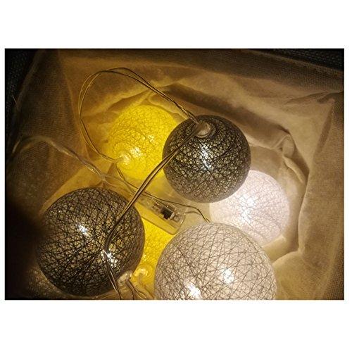 LED Lichterkette mit Kugeln, Morbuy 6CM Baumwollkugeln Batterie Deko Licht Festlich Hochzeiten Geburtstag Party Weihnachten Lichterkette Dekorative(1.8m / 10 Lichter, Gelbes Thema)