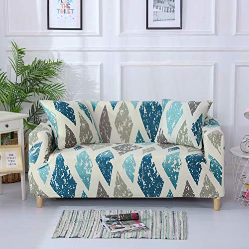 Stretch Slipcover Fitted Furniture Protector Print Sofa Cover Stylish Couch Cover with 2 Pillow Cases for Loveseats/Sofas/Sectional Couches,2 Seater-Colorful Diamond