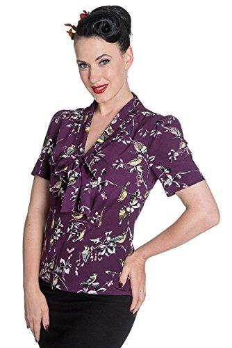 Hell Bunny - Blusa Birdy estilo vintage de los años 40/50, Segunda Guerra Mundial, estilo chica de campo pin-up, para mujer Morado morado 48