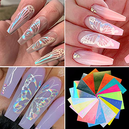 16PCS Butterfly Nail Art Stickers - Holographic Butterfly Nail Art Decals 3D Vinyls Nail Stencil for Nails Manicure Tape Adhesive Foils DIY Decoration