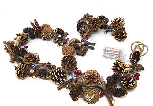 Link Products Traditional Snow-Covered Pine Cone Red Berry Garland. Light Up with LED lights provided separate (no batteries included) 1.5 m (5 ft) long