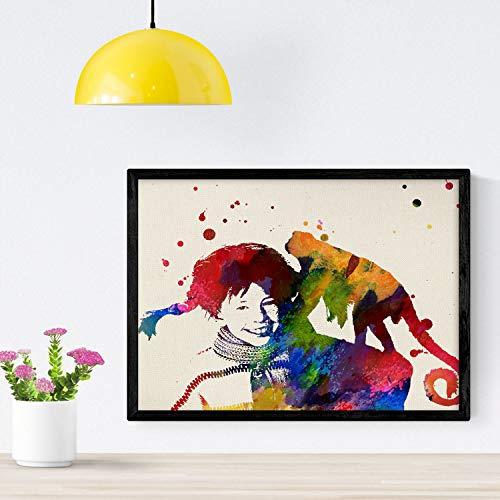 Nacnic Poster de La Pipi con Mono. Láminas de Cine, películas, y actores. Posters de películas Antiguas con Estilo Acuarela. Tamaño A4 con Marco