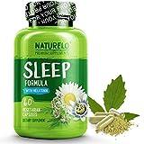 NATURELO Sleep Aid - with Melatonin, Magnesium, GABA, Valerian Root, Lemon Balm, Chamomile Herbal Extracts - Plant-Based Sleeping Aid - 60 Vegan Capsules