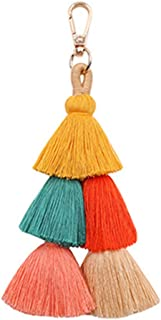 Auony Colorful Boho Tassel Charm Key Chain Pom Pom Tassel Bag Pendant Key Ring Keychain