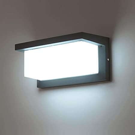Combuh LED Waterproof Wall Light IP65 12W Aluminum Outside Wall Light Suitable for Garden Front Bathroom Porch Garage Daylight White 6000K 260 * 125 * 125mm