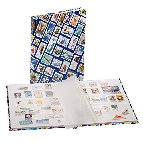 Leuchtturm Briefmarken-Sammel-Album, Einsteckbuch Hobby DIN A4, 16 weiße Seiten, unwattierter Einband, blau