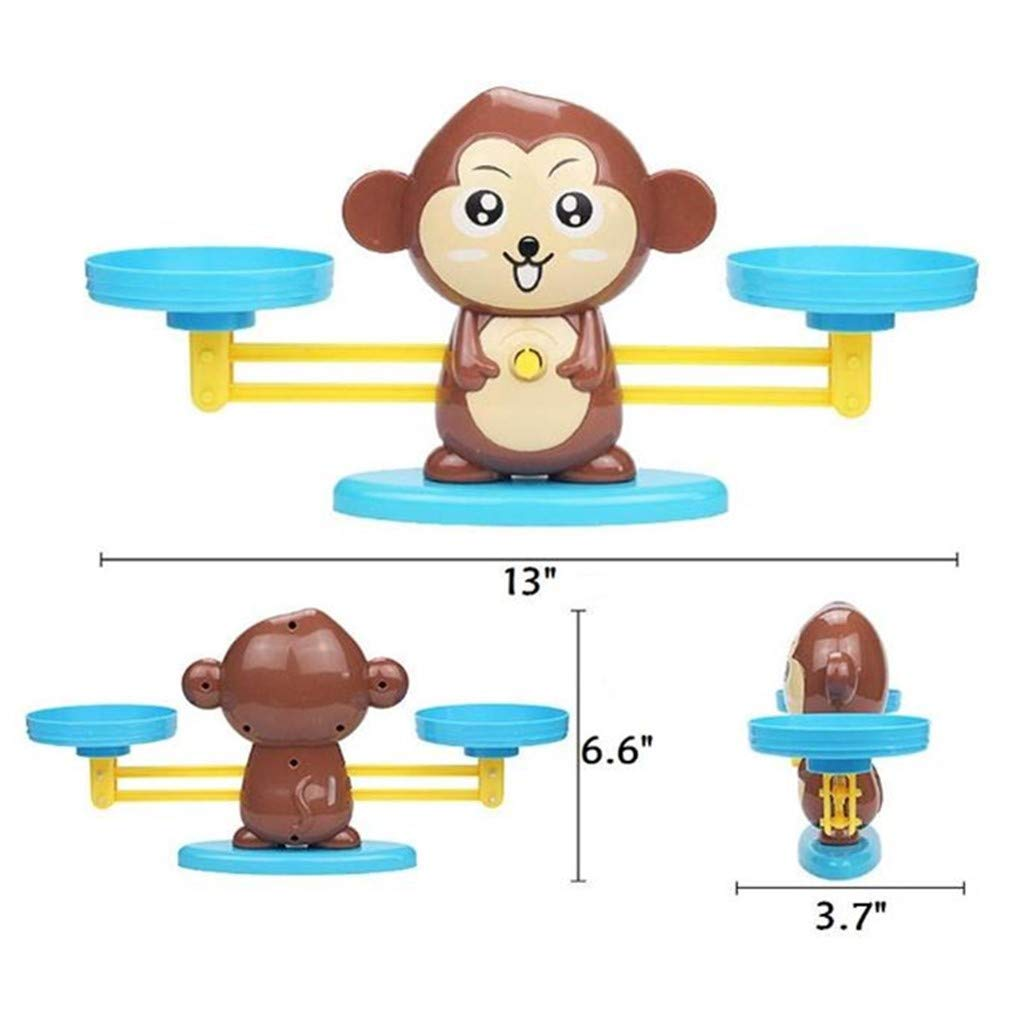 Mumoo Bear Monkey Balance Math Game,Monkey Weighing Scale Montessori Educational Stem Counting Toys for 3 4 5 Years Old Age