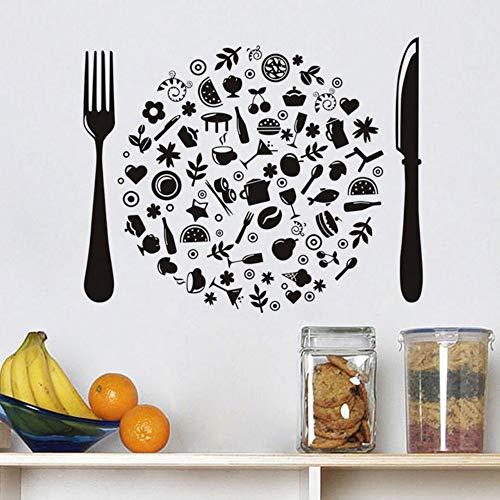 Zwart mes en vork muursticker vinyl bestek DIY handmade winkel Windows sticker decoratie voor keuken dining tegel