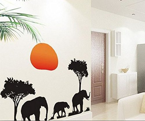 African Elephants Trees Sunset Removable Vinyl Wall Stickers Mural Home Art Decal Kids Room Decor