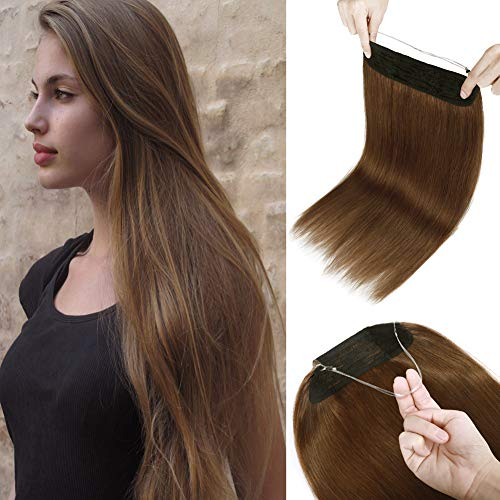 Thick Human Hair Extensions Hidden Wire Hairpiece 20 inch Light Brown Soft Straight Hair Secret Translucent Fish Line One Piece without Clip Miracle Headband 20' #6 110g