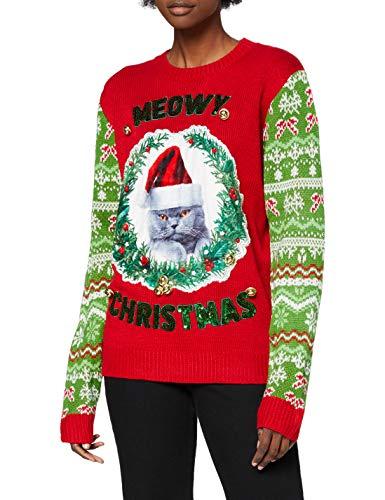 OFF THE RACK Womens Unisex Damen Lustig Pullover für Weihnachten Strickpullis für Weihnachtsparty Sweater, Cutesy Christmas Kitty, L