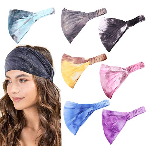 7Pcs Boho Headbands for Women Wide Elastic Headbands Turban Headwraps Bandana Head Wrap Hair Band Yoga Running Twisted Hairband Hair Accessories for Women Girls