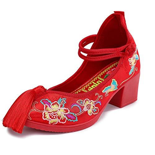 Lihcao Zapatos de la Boda de la Novia Femenina de tacón Alto de la Hebilla del Disco Zapatos de automóviles con Cordones Zapatos de Boda China de la Boda (Color : 2, Size : 6.5)
