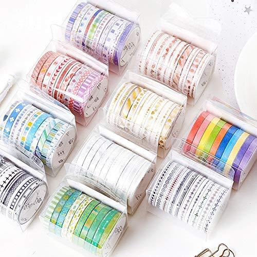 JJ. Juego de accesorios 10 juegos de rollos de cinta adhesiva dorada, utilizados para Navidad, diseño navideño, cinta para envolver regalos artesanales