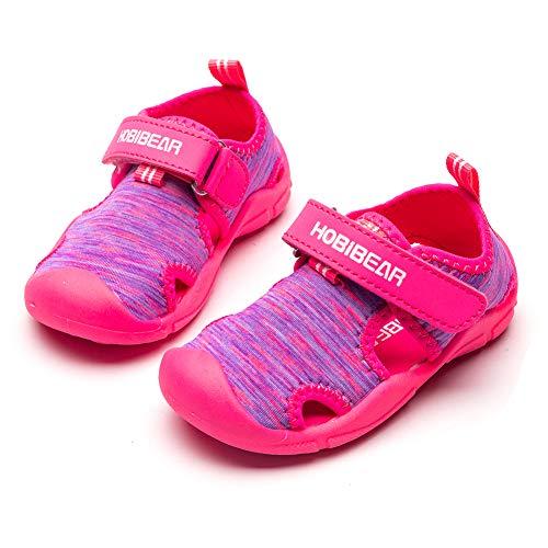 HOBIBEAR Girls Water Shoes Quick Dry Lightweight Aqua Kids Sport Sandals Beach Swim Pool Water Park (Hot Pink,6.5 Toddler)