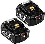 2X Hochstern BL1860B Batterie Remplacement pour Makita 18V Lithium Compatible avec BL1850B BL1850 BL1860 BL1840B BL1840 BL1830B BL1815B LXT-400 avec Indicateur LED