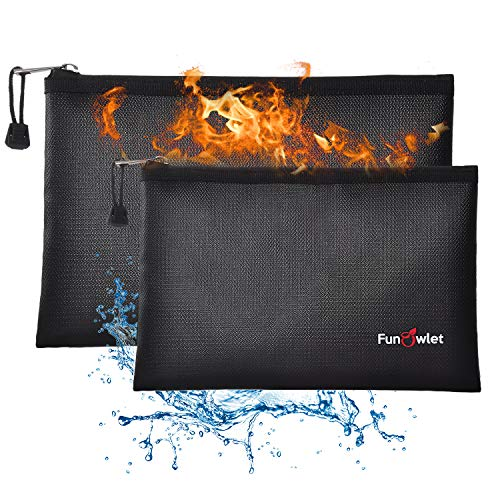 Fireproof Safe Money Document Bags - 2 Pack 13.4' x 9.8' and 10.6' x 6.7' Waterproof Zipper Bag, Fire & Water Resistant Storage Organizer Pouch for A4 A5 Documents Holder,File,Cash,Passport,Tablet