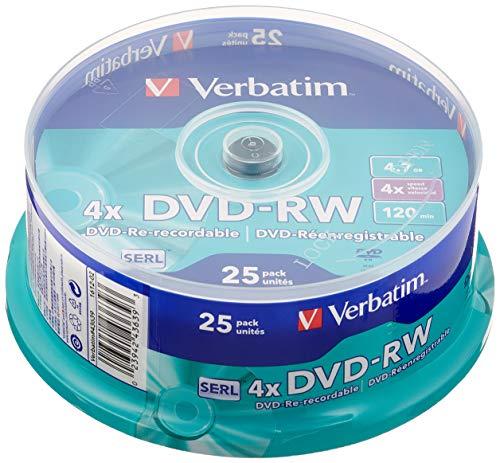 Verbatim DVD-RW 4x Matt Silver 4.7GB I 25er Pack Spindel I DVD Rohlinge beschreibbar I 4-fache Brenngeschwindigkeit & Hardcoat Scratch Guard I DVD leer I Rohlinge DVD wiederbeschreibbar