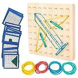 ZEEREE Geoboard de Madera Montessori Juguete Creativo Gráficos de Goma Corbata Placas de Uñas Aprendizaje Educación Juguete para Niños